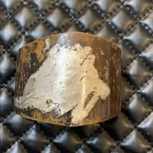 Vintage Bronze Copper Metal Think Cuff Bracelet
